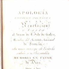 Libros antiguos: LIBRO DE 1806,MEMORIA EN FAVOR DE DIOS,APOLOGÍA FILOSÓFICO DOGMÁTICA,REPULLÉS,RARO. Lote 27803939