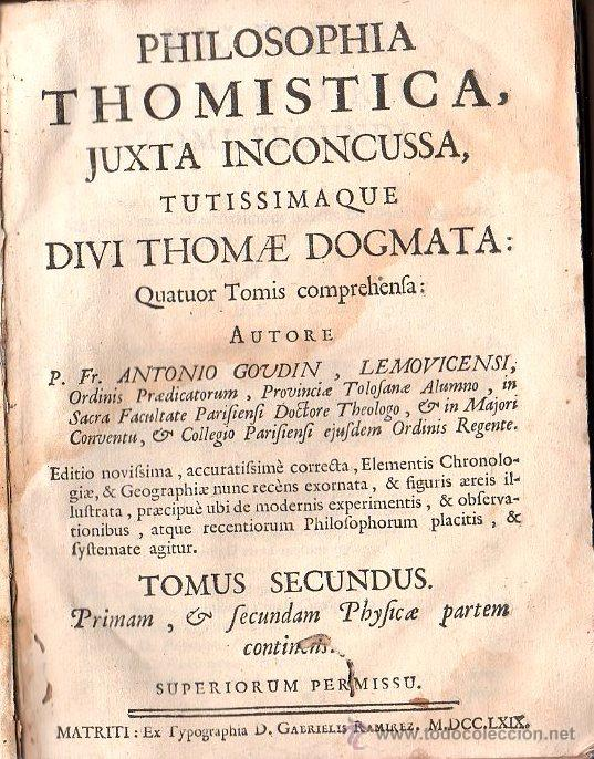 1769,MADRID,FILOSOFÍA THOMÍSTICA,DOS TOMOS,PERGAMINO,LATÍN,REGULAR ESTADO,EL DE LA FOTO (Libros Antiguos, Raros y Curiosos - Pensamiento - Filosofía)