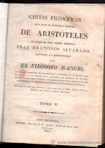 CARTAS FILOSÓFICAS DE ARISTÓTELES, POR FRANCISCO ALVARADO, EL FILÓSOFO RANCIO, TOMO V, AGUADO 1825 (Libros Antiguos, Raros y Curiosos - Pensamiento - Filosofía)