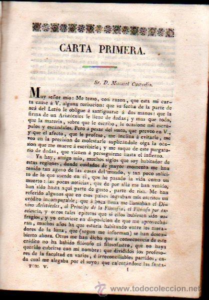 Libros antiguos: CARTAS FILOSÓFICAS DE ARISTÓTELES, POR FRANCISCO ALVARADO, EL FILÓSOFO RANCIO, TOMO V, AGUADO 1825 - Foto 4 - 30673478