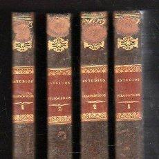 Libros antiguos: ESTUDIOS FILOSÓFICOS SOBRE EL CRISTIANISMO, AUGUSTO NICOLÁS, 4 TOMOS, BCN, IMP. PABLO RIERA, 1851. Lote 163609693
