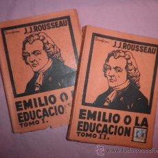 Libros antiguos: EMILIO O LA EDUCACION - J.J.ROUSSEAU - BUENOS AIRES AÑO 1930.. Lote 32615743
