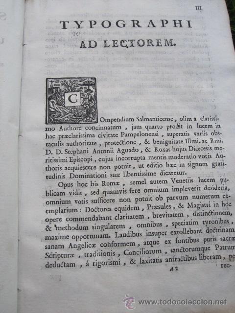 Libros antiguos: Compendium Salmanticense - Pamplona Pompelonae apud Benedictum Cosculluela Joseph - 1791 TOMO I (2) - Foto 3 - 32712993