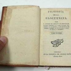 Libros antiguos: FILOSOFÍA DE LA ELOCUENCÍA, ANTONIO CAPMANY. TOMO 1º. GERONA, 1822. 10X16 CM.. Lote 33232786