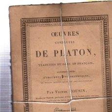 OEUVRES COMPLÉTES DE PLATÓN, VÍCTOR COUSIN, TOMO III, PARIS, REY ET GRAVIER, LIBRAIRES, 1833