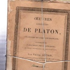 Libros antiguos: OEUVRES COMPLÉTES DE PLATÓN, VÍCTOR COUSIN, TOMO IV, PARIS, REY ET GRAVIER, LIBRAIRES, 1833. Lote 33801411