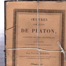 OEUVRES COMPLÉTES DE PLATÓN, VÍCTOR COUSIN, TOMO V, PARIS, REY ET GRAVIER, LIBRAIRES, 1833