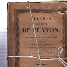 OEUVRES COMPLÉTES DE PLATÓN, VÍCTOR COUSIN, TOMO VI, PARIS, REY ET GRAVIER, LIBRAIRES, 1831