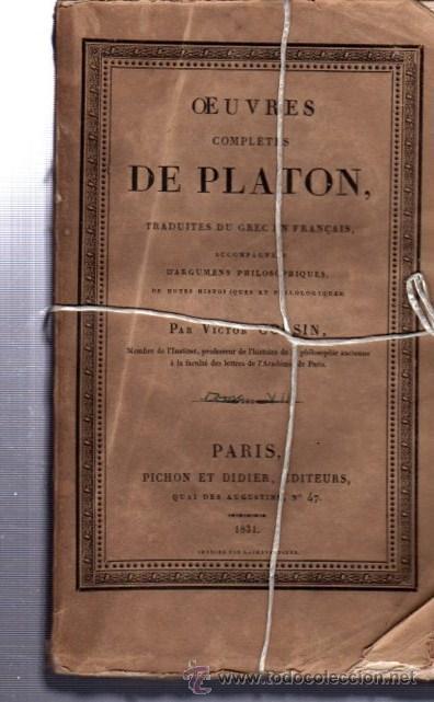 OEUVRES COMPLÉTES DE PLATÓN, VÍCTOR COUSIN, TOMO VII, PARIS, REY ET GRAVIER, LIBRAIRES, 1831 (Libros Antiguos, Raros y Curiosos - Pensamiento - Filosofía)