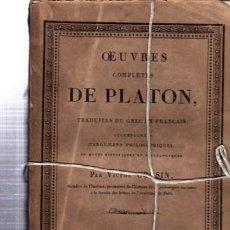 Libros antiguos: OEUVRES COMPLÉTES DE PLATÓN, VÍCTOR COUSIN, TOMO VII, PARIS, REY ET GRAVIER, LIBRAIRES, 1831. Lote 33801446