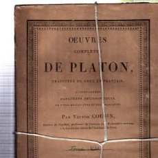 Libros antiguos: OEUVRES COMPLÉTES DE PLATÓN, VÍCTOR COUSIN, TOMO VII, PARIS, REY ET GRAVIER, LIBRAIRES, 1832. Lote 33801456