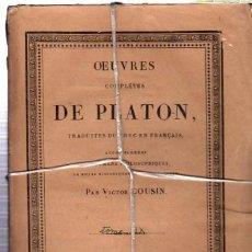 Libros antiguos: OEUVRES COMPLÉTES DE PLATÓN, VÍCTOR COUSIN, TOMO IX, PARIS, REY ET GRAVIER, LIBRAIRES, 1834. Lote 33801476
