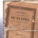 Libros antiguos: OEUVRES COMPLÉTES DE PLATÓN, VÍCTOR COUSIN, TOMO XI, PARIS, REY ET GRAVIER, LIBRAIRES, 1837. Lote 33801495