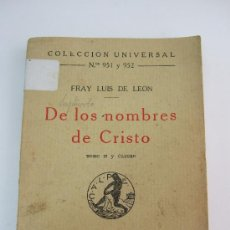 Libros antiguos: DE LOS NOMBRES DE CRISTO - FRAY LUIS DE LEON - TOMO II Y ULTIMO - 1924 - CALPE. Lote 35622300