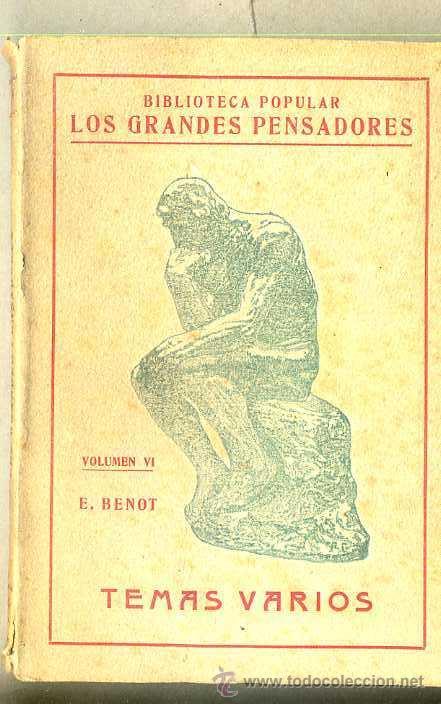 BENOT : TEMAS VARIOS (ESCUELA MODERNA, 1920) (Libros Antiguos, Raros y Curiosos - Pensamiento - Filosofía)