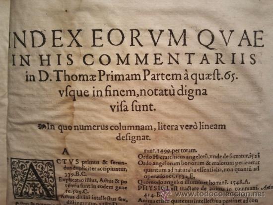 COMENTARIOS SOBRE LA 1ª PARTE DE SANTO TOMÁS. ENC. PIEL ÉPOCA ESTILO PLATERESCO. SALAMANTICAE 1587. (Libros Antiguos, Raros y Curiosos - Pensamiento - Filosofía)