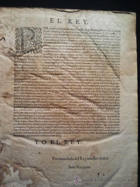 Libros antiguos: Comentarios sobre la 1ª parte de Santo Tomás. Enc. piel época estilo plateresco. Salamanticae 1587. - Foto 4 - 37432356