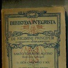 Libros antiguos: SANTO TOMÁS DE AQUINO : DE REGIMINE PRINCIPUM (1917) DE LA MONARQUÍA. Lote 131423843