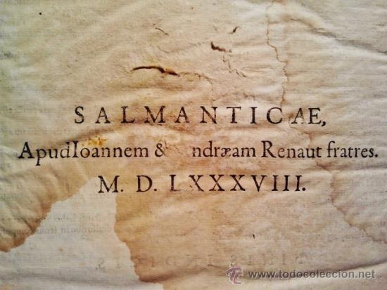 Libros antiguos: Comentarios sobre la 1ª parte de Santo Tomás. Enc. piel época estilo plateresco. Salamanticae 1587. - Foto 6 - 37432356