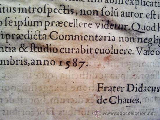 Libros antiguos: Comentarios sobre la 1ª parte de Santo Tomás. Enc. piel época estilo plateresco. Salamanticae 1587. - Foto 7 - 37432356