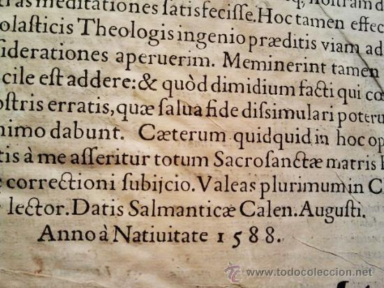 Libros antiguos: Comentarios sobre la 1ª parte de Santo Tomás. Enc. piel época estilo plateresco. Salamanticae 1587. - Foto 10 - 37432356