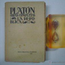 Libros antiguos: PLATON. OBRAS COMPLETAS. LA REPUBLICA.1928. NUEVA BIBLIOTECA FILOSÓFICA XXI. Lote 41609332
