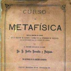 Libros antiguos: DELFIN DONADIU Y PUIGNAU : CURSO DE METAFÍSICA (1877). Lote 42570436