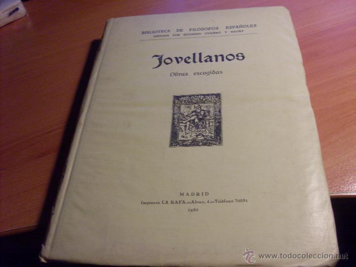 JOVELLANOS (OBRAS ESCOGIDAS) BIBLIOTECA FILOSOFOS ESPAÑOLES 1930 INTONSO (LB24) (Libros Antiguos, Raros y Curiosos - Pensamiento - Filosofía)
