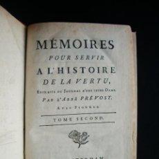 Libri antichi: 1784-HISTORIA DE LA VIRTUD.MEMORIAS.T-2 ABBE PREVOST.DOS GRABADOS.ORIGINAL. Lote 48742282