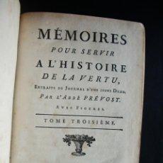 Libros antiguos: 1784-HISTORIA DE LA VIRTUD.MEMORIAS.T-3 ABBE PREVOST.DOS GRABADOS.ORIGINAL. Lote 48742393