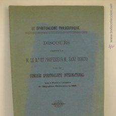 Libros antiguos: LE SPIRITUALISME PHILOSOPHIQUE. DISCOURS M. LE D. ET PROFESSEUR M. SANZ BENITO. VALLADOLID 1889. Lote 49912867