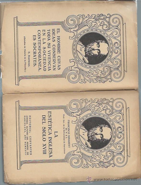 Libros antiguos: LA ESTÉTICA INGLESA DEL SIGLO XVIII, FRANCISCO MIRABENT, EDITORIAL CERVANTES BARCELONA 1927, RÚSTICA - Foto 2 - 50502832
