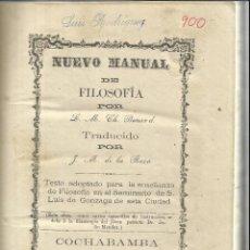 Libros antiguos: NUEVO MANUAL DE FILOSOFÍA. CH. BENARD. COCHABAMBA. BOLIVIA. 1974. Lote 52977905