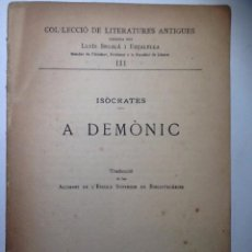 Livros antigos: A DEMONIC. 1918. ISOCRATES. . Lote 53988080