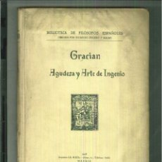 Libros antiguos: AGUDEZA DE ARTE Y DE INGENIO. LORENZO GRACIÁN. Lote 54766863