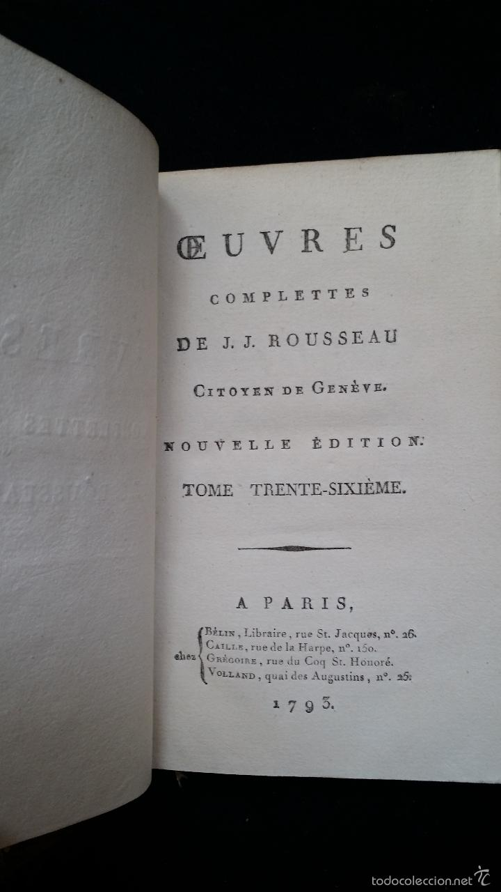 Libros antiguos: J. J. ROUSSEAU: PIECES DIVERSES / 2 TOMOS / PARIS, 1793 - Foto 8 - 55230037