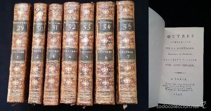 J. J. ROUSSEAU: LETTRES / 7 TOMOS / PARIS, 1793 (Libros Antiguos, Raros y Curiosos - Pensamiento - Filosofía)