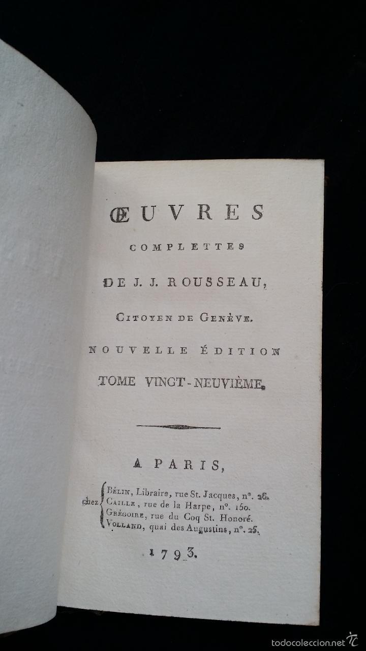 Libros antiguos: J. J. ROUSSEAU: LETTRES / 7 TOMOS / PARIS, 1793 - Foto 7 - 55230755