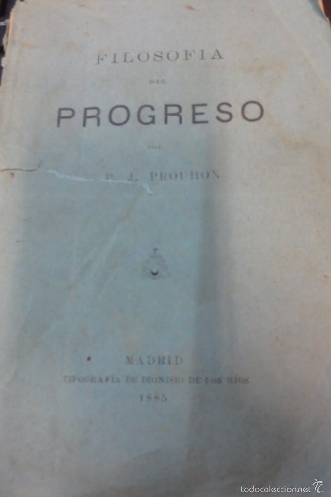 FILOSOFÍA DEL PROGRESO P. J. PROUDHON AÑO 1885 SIGLO XIX (Libros Antiguos, Raros y Curiosos - Pensamiento - Filosofía)