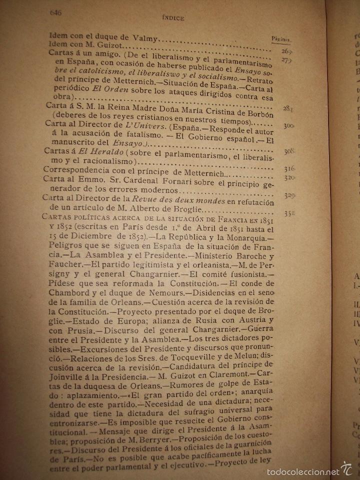 Libros antiguos: Obras de Don Juan Donoso Cortés : Nueva edición aumentada... VOLUMEN II - Foto 3 - 48898630