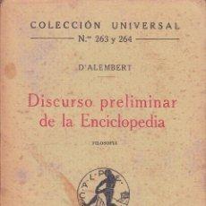 Libros antiguos: D'ALEMBERT : DISCURSO PRELIMINAR DE LA ENCICLOPEDIA CALPE, MADRID 1920.. Lote 56994783