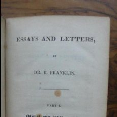 Libros antiguos: ESSAYS AND LETTERS. BENJAMIN FRANKLIN. 1822.. Lote 57149321