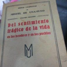 Livros antigos: DEL SENTIMIENTO TRAGICO DE LA VIDA TOMO 2 MIGUEL DE UNAMUNO EDIT RENACIMIENTO AÑO 1912. Lote 57507015