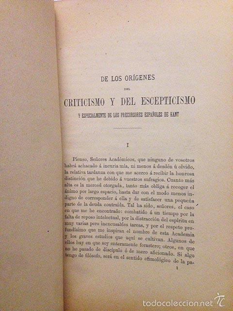 MENÉNDEZ Y PELAYO: ORÍGENES DEL CRITICISMO Y ESCEPTICISMOº... PRECURSORES ESPAÑOLES DE KANT. (1890) (Libros Antiguos, Raros y Curiosos - Pensamiento - Filosofía)