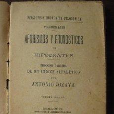 Libros antiguos: AFORISMOS Y PRONÓSTICOS DE HIPOCRATES VOLUMEN LXXII. 1904. Lote 63197252