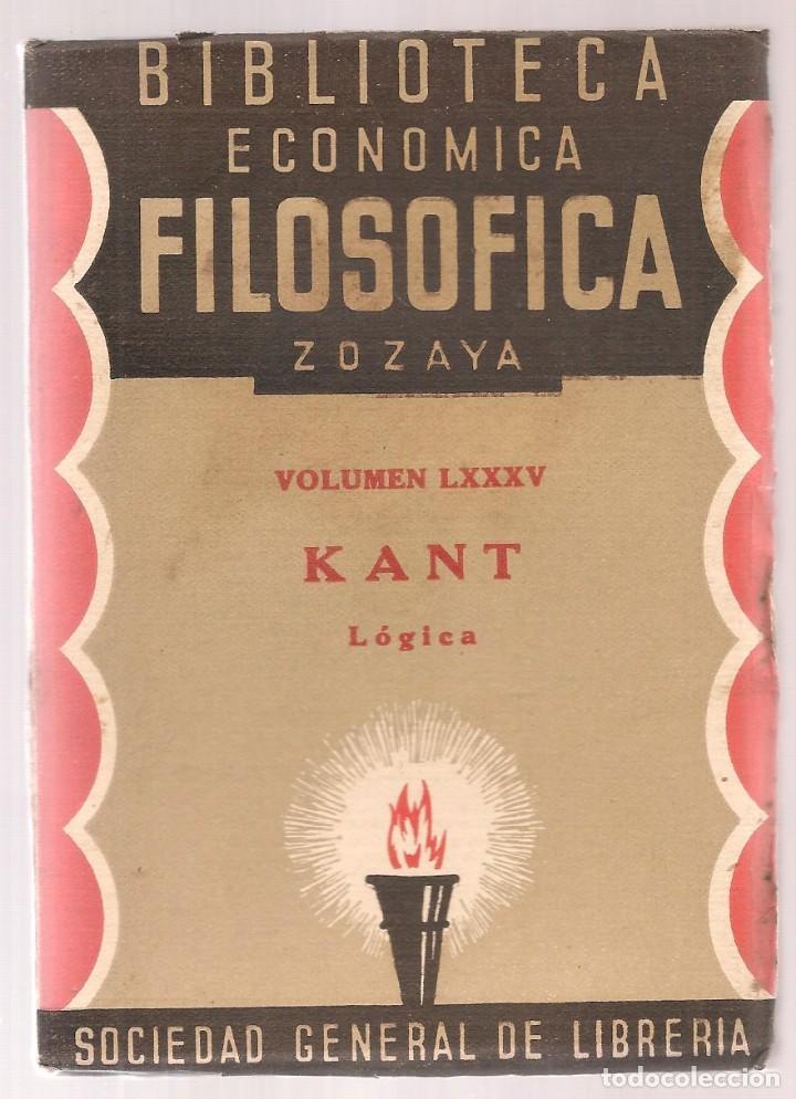 KANT ,LOGICA,BIBLIOTECA ECONOMICO FILOSOFICA, 1935, MADRID, (Libros Antiguos, Raros y Curiosos - Pensamiento - Filosofía)