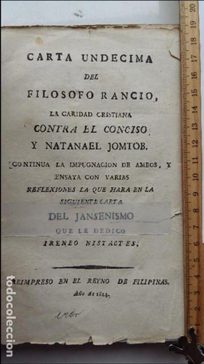 CARTA UNDÉCIMA DEL FILÓFOSO RANCIO.. IMPRESO EN EL REYNO DE FILIPINAS. (Libros Antiguos, Raros y Curiosos - Pensamiento - Filosofía)