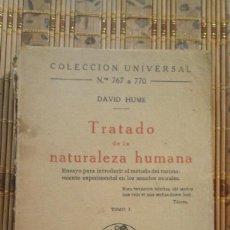 Libros antiguos: TRATADO DE LA NATURALEZA HUMANA - DAVID HUME - TOMO I - 1ª EDICIÓN 1923. Lote 77014037