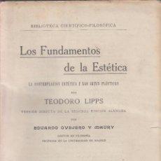 Libros antiguos: TEODORO LIPPS. LOS FUNDAMENTOS DE LA ESTÉTICA. MADRID, 1924.. Lote 121989335