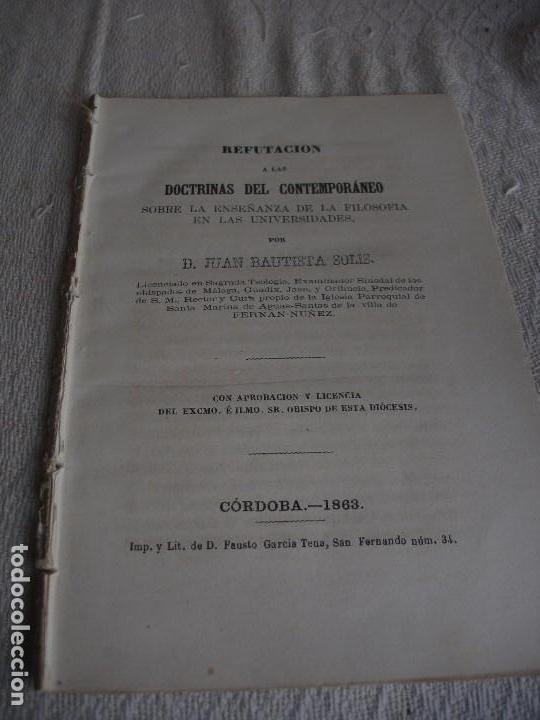 REFUTACIÓN A LAS DOCTRINAS DEL CONTEMPORÁNEO SOBRE LA ENSEÑANZA DE LA FILOSOFÍA EN LAS UNIVERSIDADES (Libros Antiguos, Raros y Curiosos - Pensamiento - Filosofía)